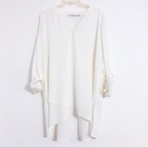 Susan Graver Roll Up Sleeve White Tunic Size 16